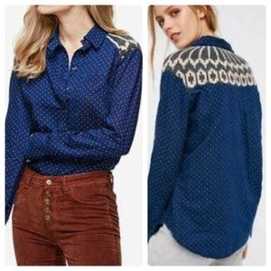 Free People Sage Sweater Button Down, M